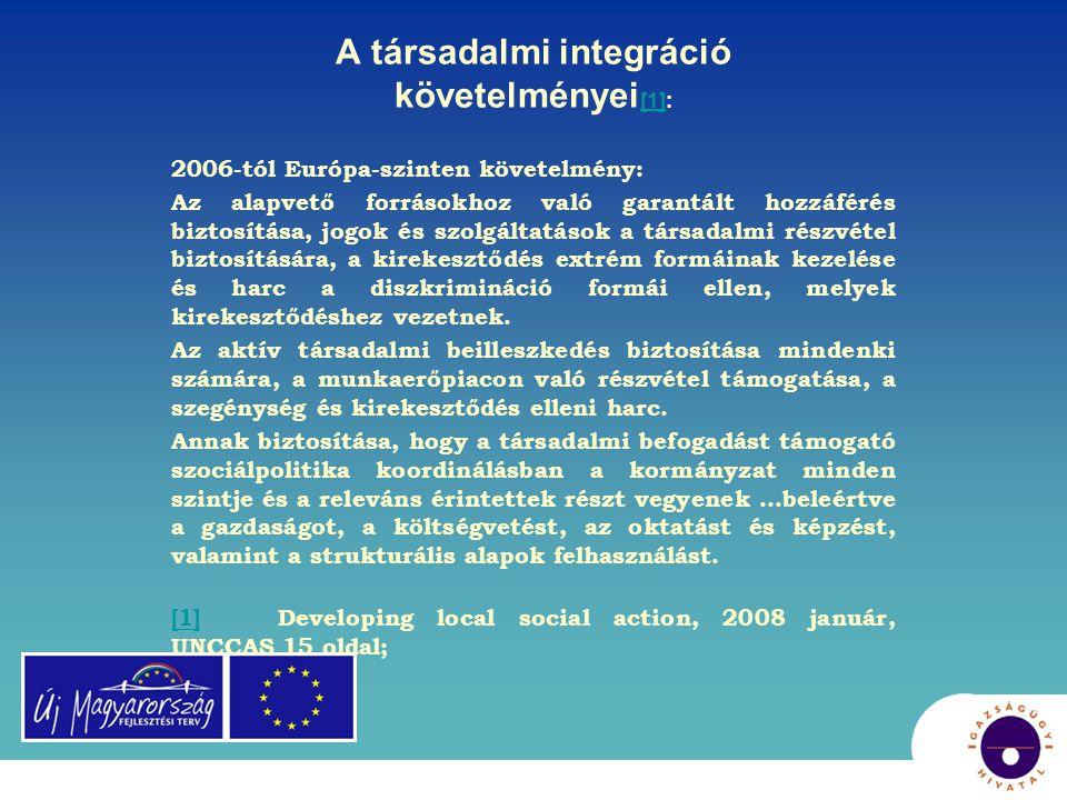 A társadalmi integráció követelményei[1]: